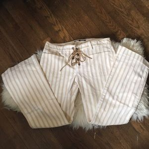 Theory Lace-Up striped pants in cream & white